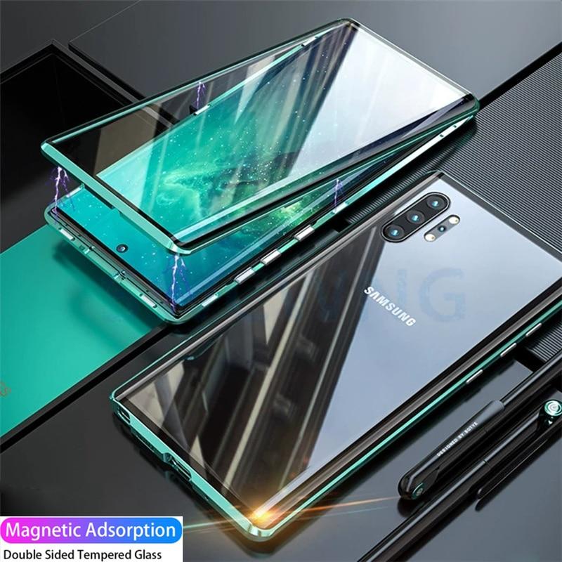 Doble cara de vidrio templado para Samsung 10 20 30 40 A50 A60 A70 A80 magnético cubierta de Metal Galaxy M20 M30 A7 A8 A9 A81 A91