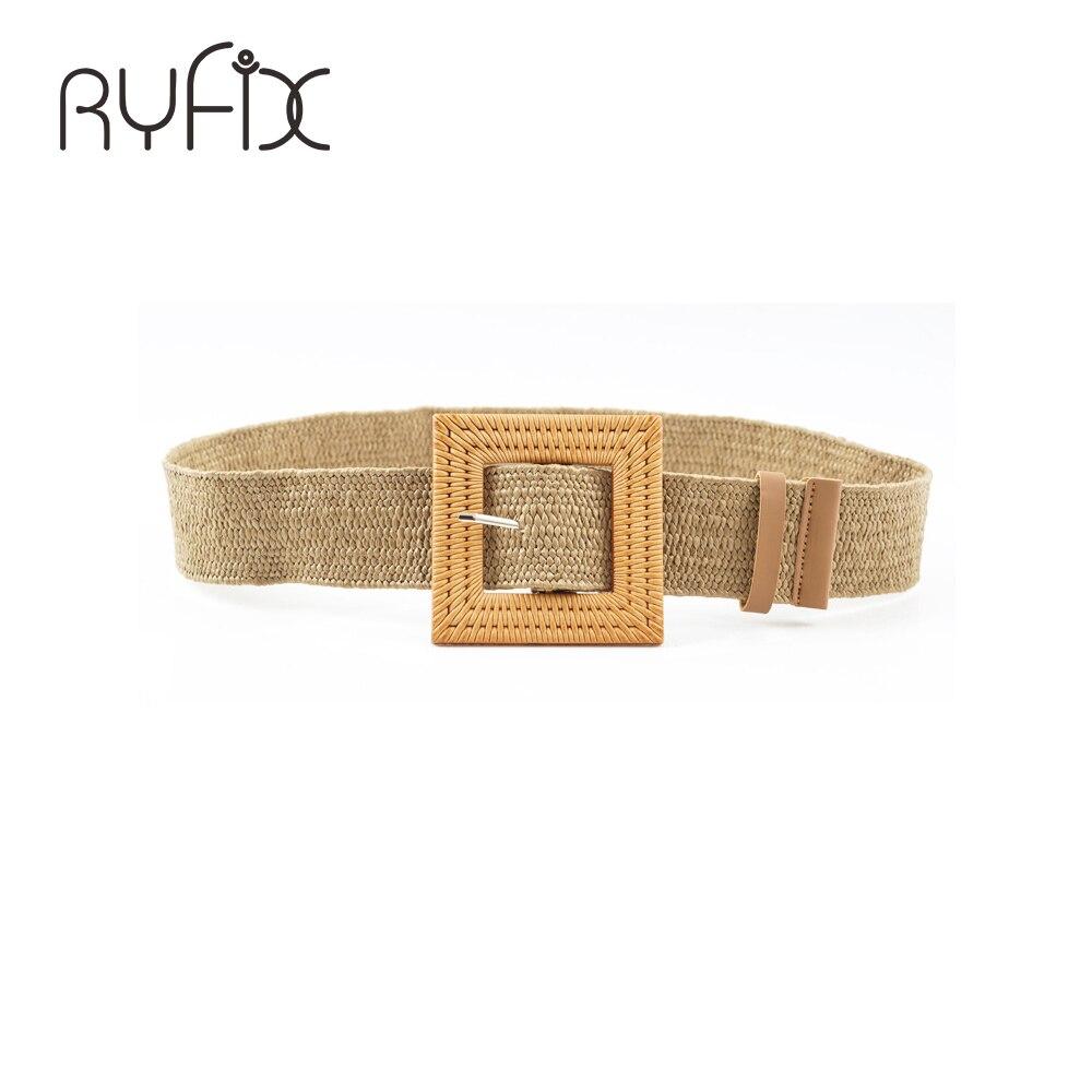 Cinturones elásticos sexis de moda para mujer, cinturón de paja con hebilla de madera cuadrada informal para chica, cinturón de cinturilla tejida BL591