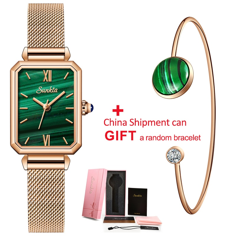 New Women Green Square Watch Analog Quartz Stainless Steel Mesh Leather Band Casual Fashion Ladies Wrist Watches 3ATM Waterproof enlarge