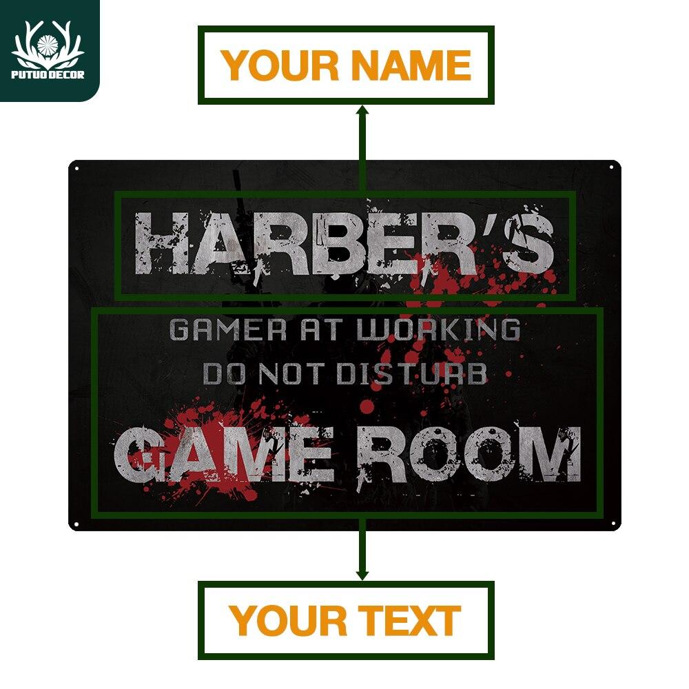 Sinal de estanho personalizado gamer doorplate sinal de metal personalizado sala do jogador retro decoração da parede placa da porta não perturbe o sinal