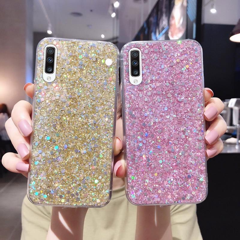 De cristal silicona Bling Glitter lentejuelas para Huawei P30 P20 Lite Mate 30 20 Pro Nova 6 5T 5 4e Honor V30 20 Y9 Y7 2019 cubierta