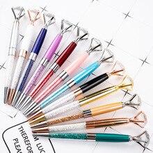 20 pcs/lot en gros grand diamant stylo à bille en métal stylo en métal stylo en cristal stylo publicitaire cadeau stylo logo personnalisé
