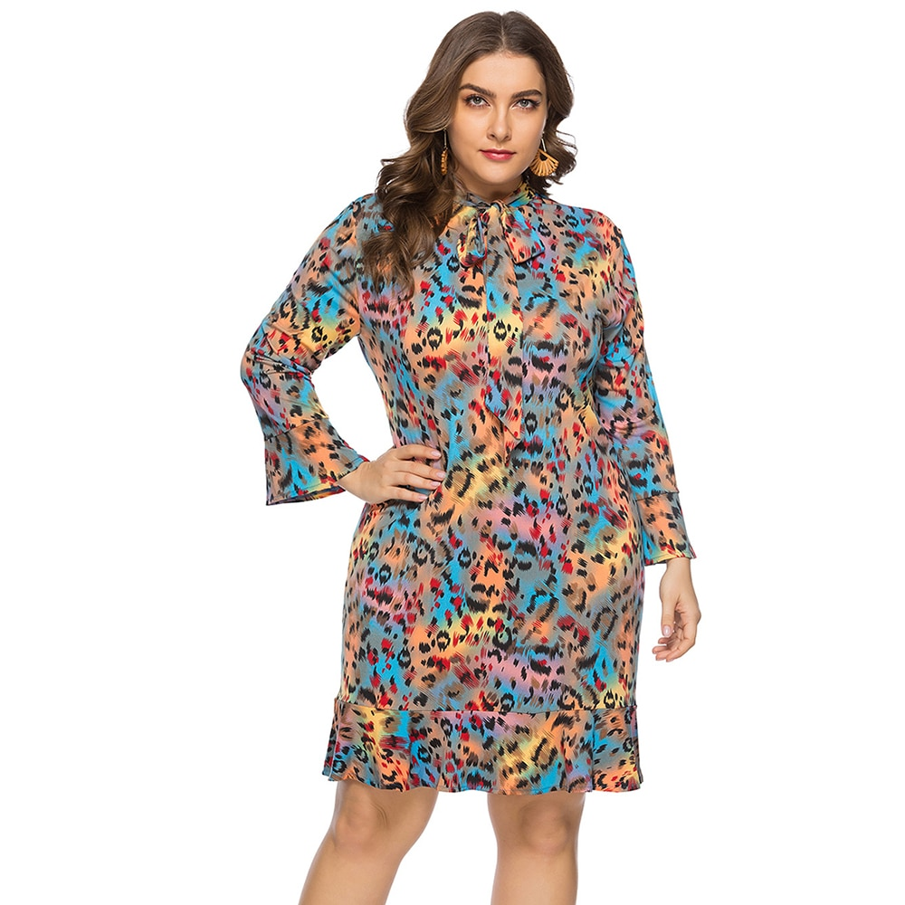 leopard print lace trim plus size tee FridayIn 2021 Autumn New Women's Casual Loose Lace-up Print V-neck Multi Color Leopard Long-sleeve Print Tie-dye Plus Size Dress