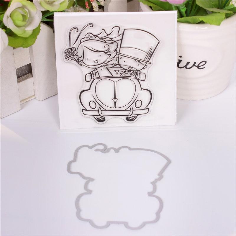 Sellos transparentes de silicona con diseño de dibujos animados para niños y troquel de metal para álbumes de recortes, sellos de alfabeto, sellos en relieve para manualidades