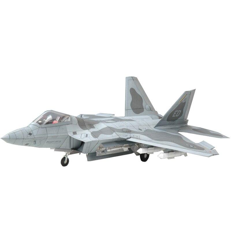 133 EE. UU. F-22 Raptor Fighter DIY 3D Tarjeta de papel modelo de construcción juegos de construcción juguetes educativos modelo militar