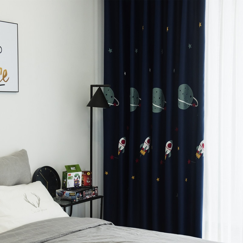 Cortinas largas para sala de estar, comedor y dormitorio con dibujos de Navy bordados en el espacio exterior para chico