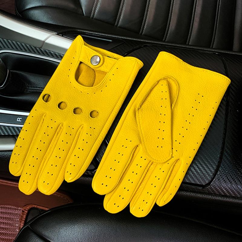Мужские Кожаные Мотоциклетные Перчатки, тонкие дышащие кожаные перчатки с закрытыми пальцами для вождения, мотоциклетные перчатки для мот...