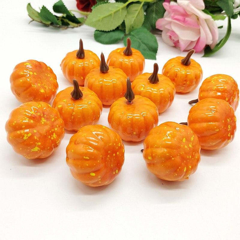 1/12 piezas de adorno de calabaza Artificial naranja/blanco decoración para el hogar de Halloween Mini verduras falsas simulación de espuma de calabaza