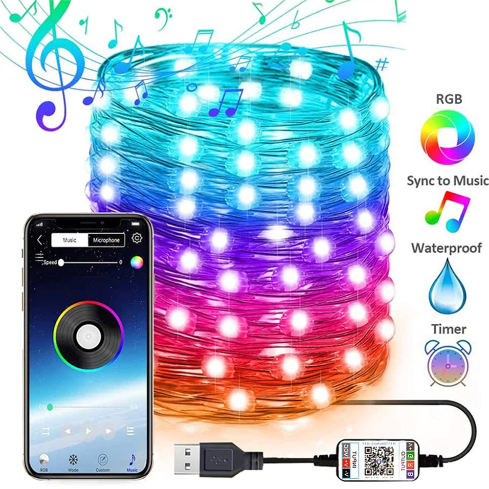 USB LED String Light Bluetooth App Control Lights Lamp Waterproof Outdoor Fairy for Christmas Tree Decoration Neon