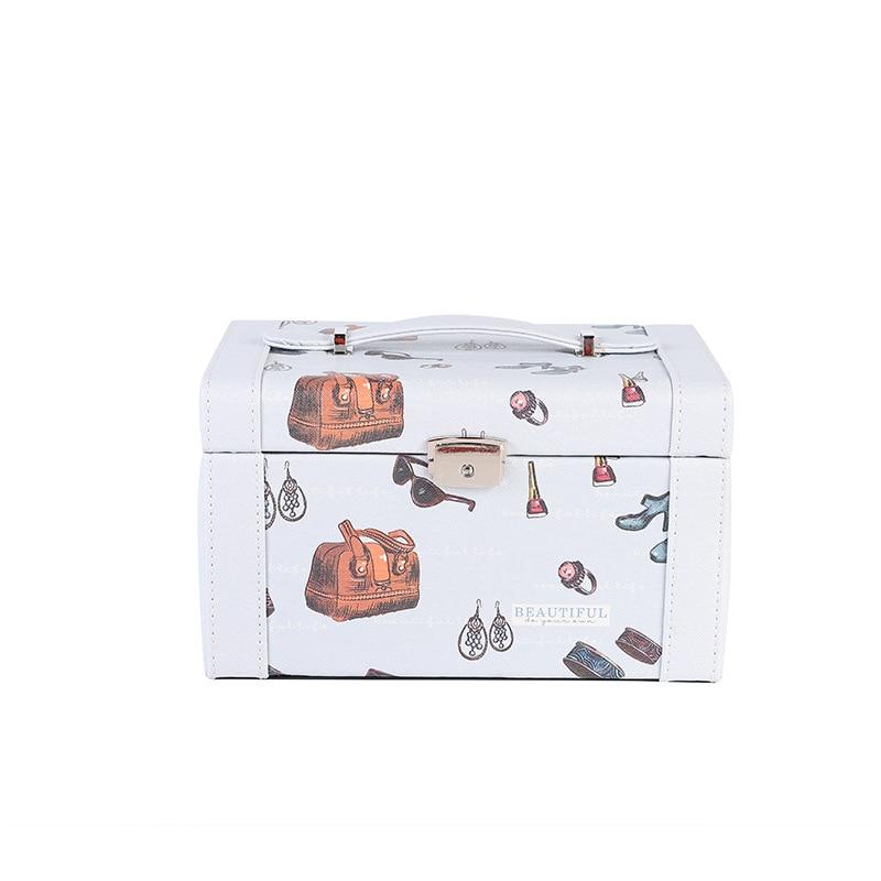 Cartoon portable jewelry box European multi-layer jewelry storage cosmetic box creative travel jewelry box