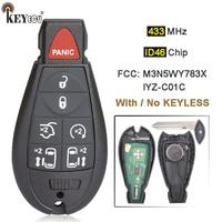 KEYECU 433MHz ID46 Chip M3N5WY783X / IYZ-C01C Keyless-Go Smart Remote Key Fobik Fob for Chrysler Jeep Dodge Ram Trunk 2008-2014