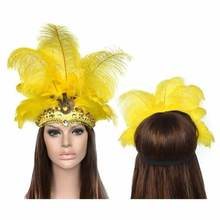 Costumes fantaisie mascarade de carnaval   Coiffe en plumes, masque de fête du carnaval brésilien rivière Cuba, couvre-chef pour femme