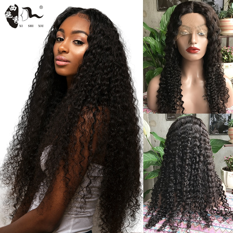 12-26inch Curl Wave Transparent U-Type Lace Front Wig Human Hair For Black Women Brazilian Curly Natural Color Lace Frontal Wig