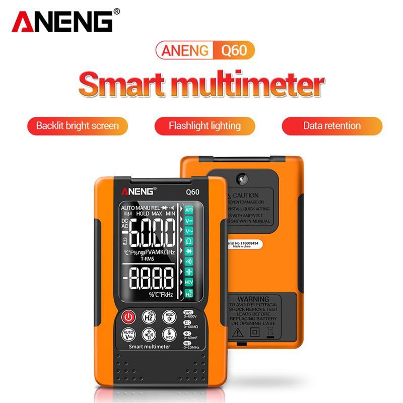 Цифровой мультиметр ANENG Q60, тестер речевого распознавания, транзисторов, 6000 отсчетов, измеритель емкости True RMS, цифровой мультиметр
