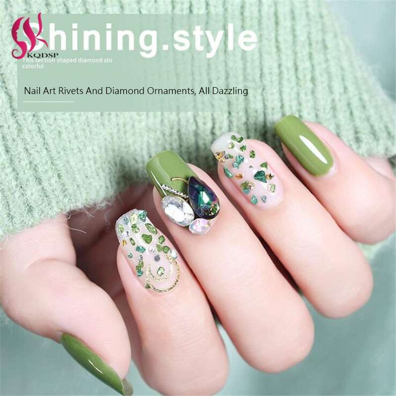 3D Mixed Shapes Rhinestones Nail Art Decorations Crystal Gems Jewelry Gold AB Shiny Stones Charm Glass Manicure Accessories 1Box 1box gold silver mix metal butterfly 3d nail art decorations nail rivets shiny charm strass manicure accessories