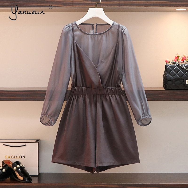 Yanueun-بدلة نسائية برقبة دائرية وأكمام طويلة ، ملابس صيفية ، مقاس كبير ، 2021