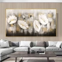 100 hand painted flower oil painting on off white tones canvas wall art abstract gold wall painting retro decor for living room