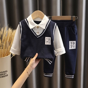 Детская одежда на весну и осень, детский костюм из 2 предметов, детская одежда в стиле колледжа, свитер с имитацией двух предметов с лацканам...