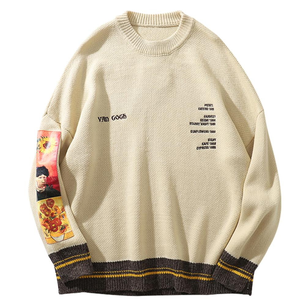 Hip Hop Sweater Pullover Men Van Gogh Painting Embroidery Knitted Sweater Harajuku Streetwear Tops Casual Pullover