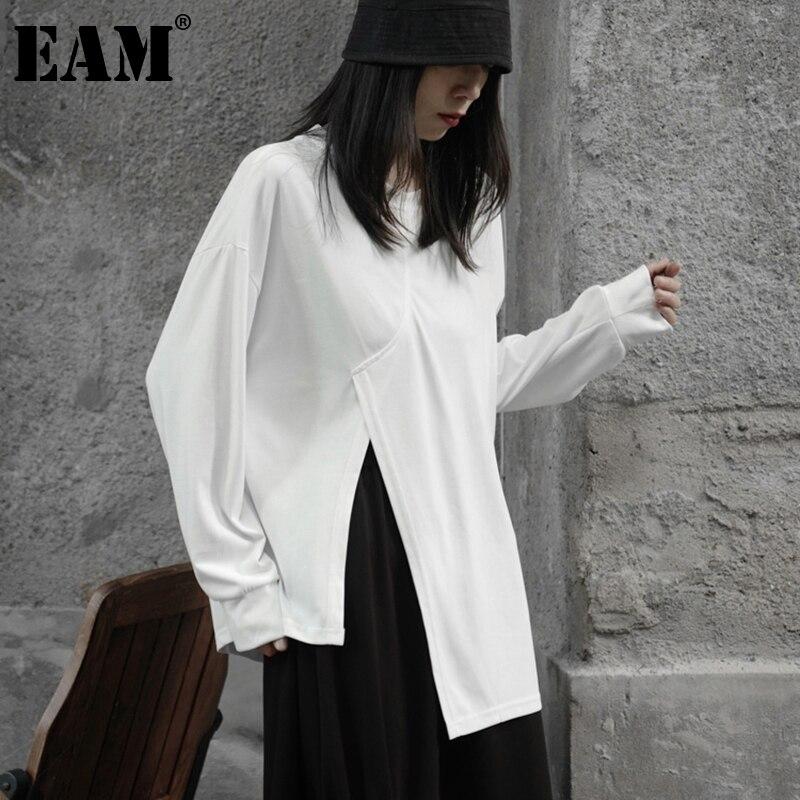 [EAM] المرأة أبيض أسود غير النظامية عادية حجم كبير تي شيرت جديد جولة الرقبة طويلة الأكمام موضة المد ربيع الخريف 2021 1DE2477