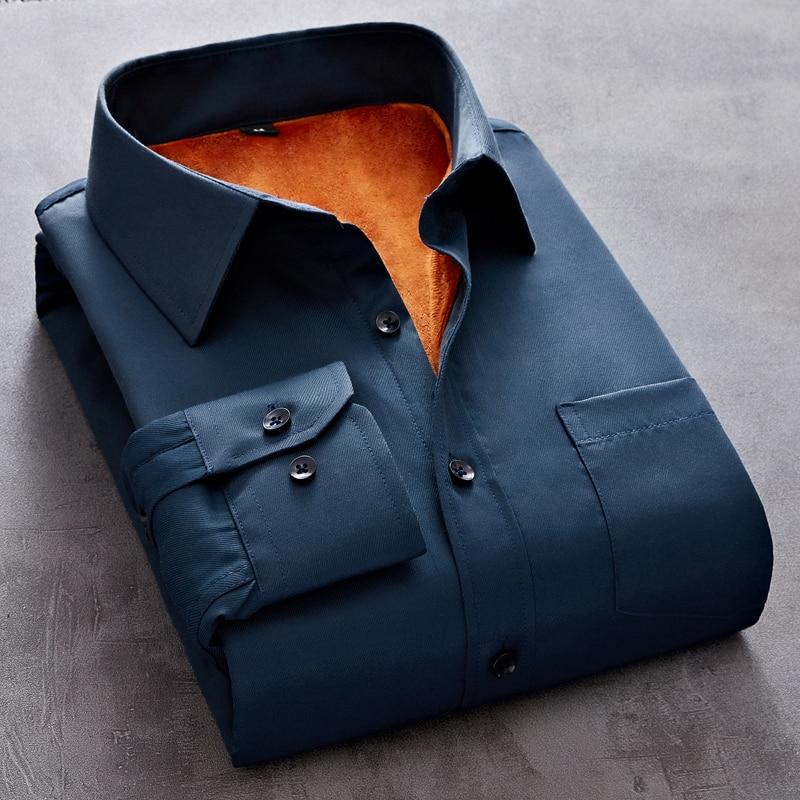 Новинка, осенняя мужская рубашка 2021, Мужская модная однотонная деловая рубашка большого размера с длинным рукавом, зимняя теплая клетчатая ...