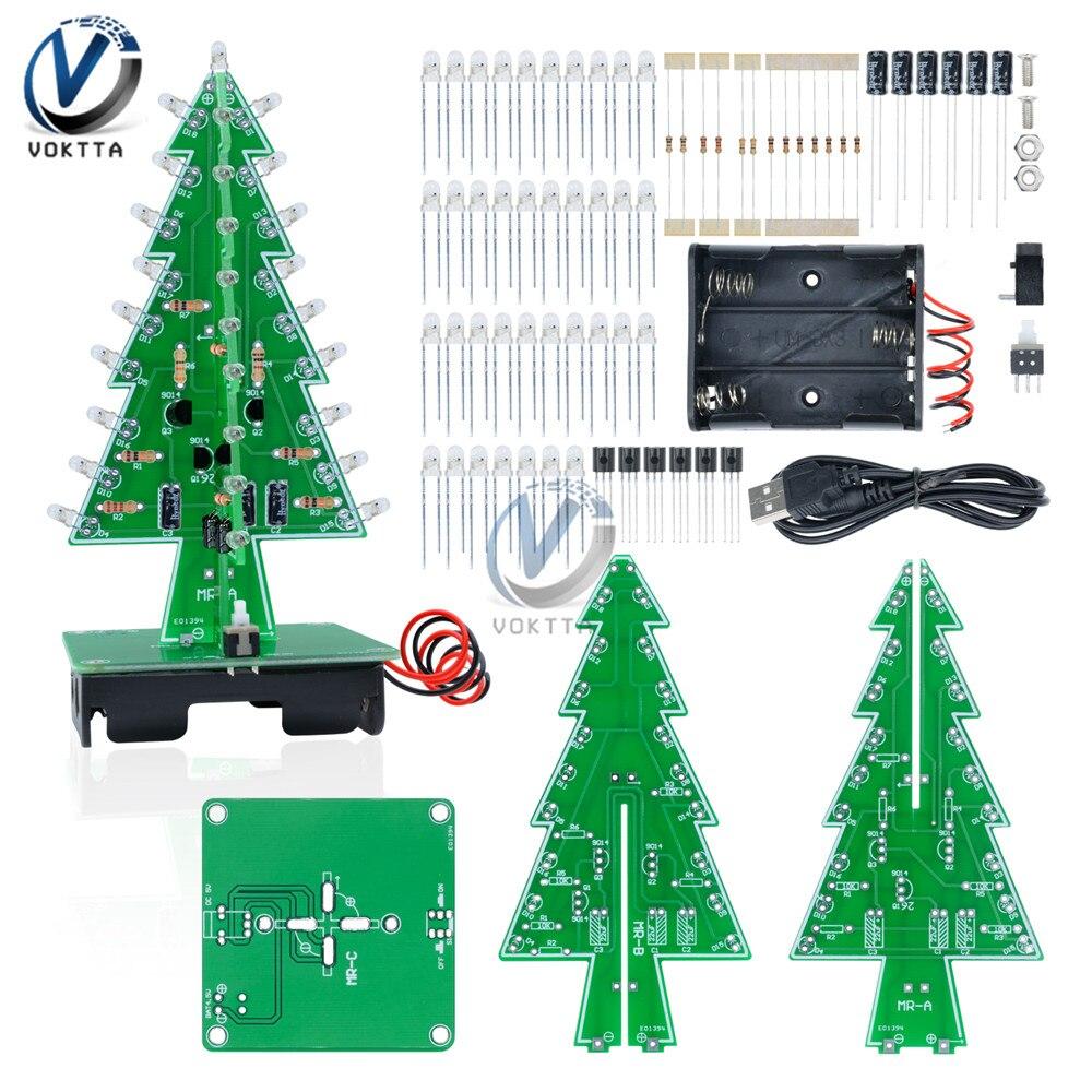 Kit de piezas de árbol de Navidad Flash de tres colores Diy árbol de regalo árbol de Navidad 3D LED circuito de piezas de regalo divertido Suite