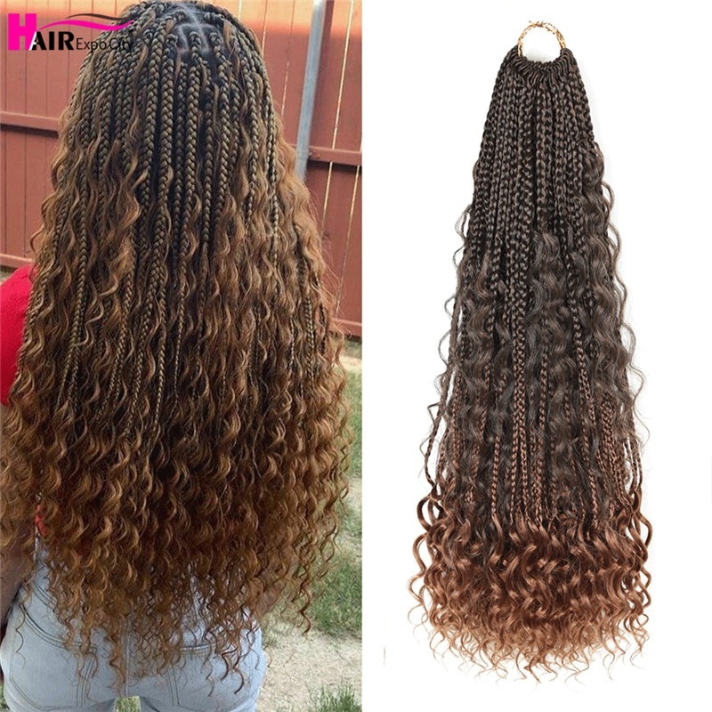 AliExpress - 22″ Goddess Box Braids Boho Braided Hair Bohemian Hair With Curly Ends Ombre Synthetic Braiding Hair Extensions Hair Expo City