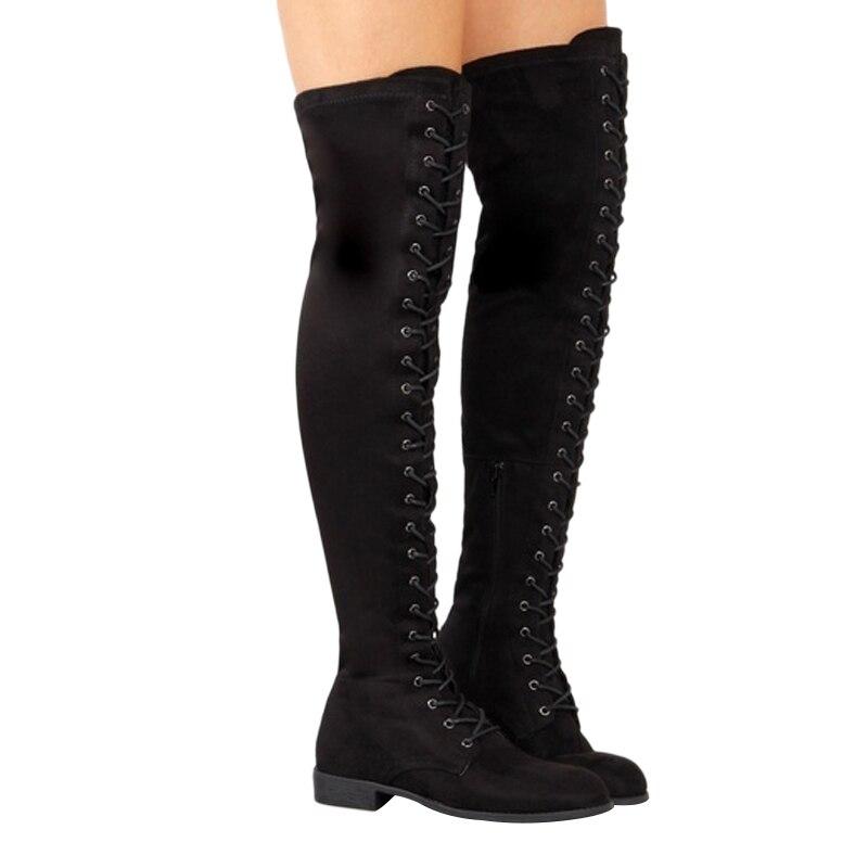 Sexy femmes bottes 2019 bottes chaudes sur le genou femme bottes dhiver femme bottes hautes à lacets femmes chaussures daim cuissardes