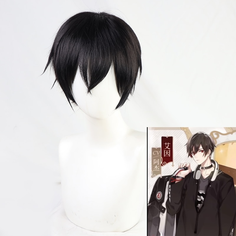 Anime! For All Time Ayn Cosplay Wig Short Black Wig Halloween Carnival Party Anime Props