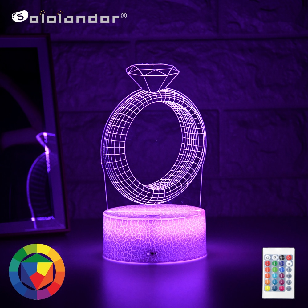 Newest Kid Light Night 3D LED Night Light Creative Table Bedside Lamp Romantic Diamond Ring light Kids Gril Home Decoration Gift kids light night 3d led night light creative table bedside lamp unicorn light kids home decoration toys gift 3d led lamp 7 color