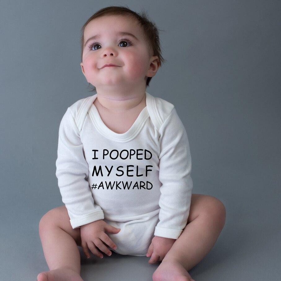 Mameluco para bebé recién nacido I POOPED MYSELF # awkood Boys Girl, mono de manga larga, mono divertido con letras, mono, trajes, ropa de 0 a 2 años