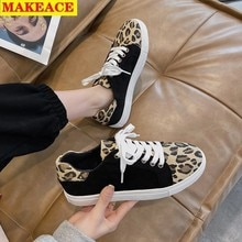 2021 New Large Size Canvas Sneakers Women Outdoor Casual Fashion Leopard Print Flats Cross Lace-up S