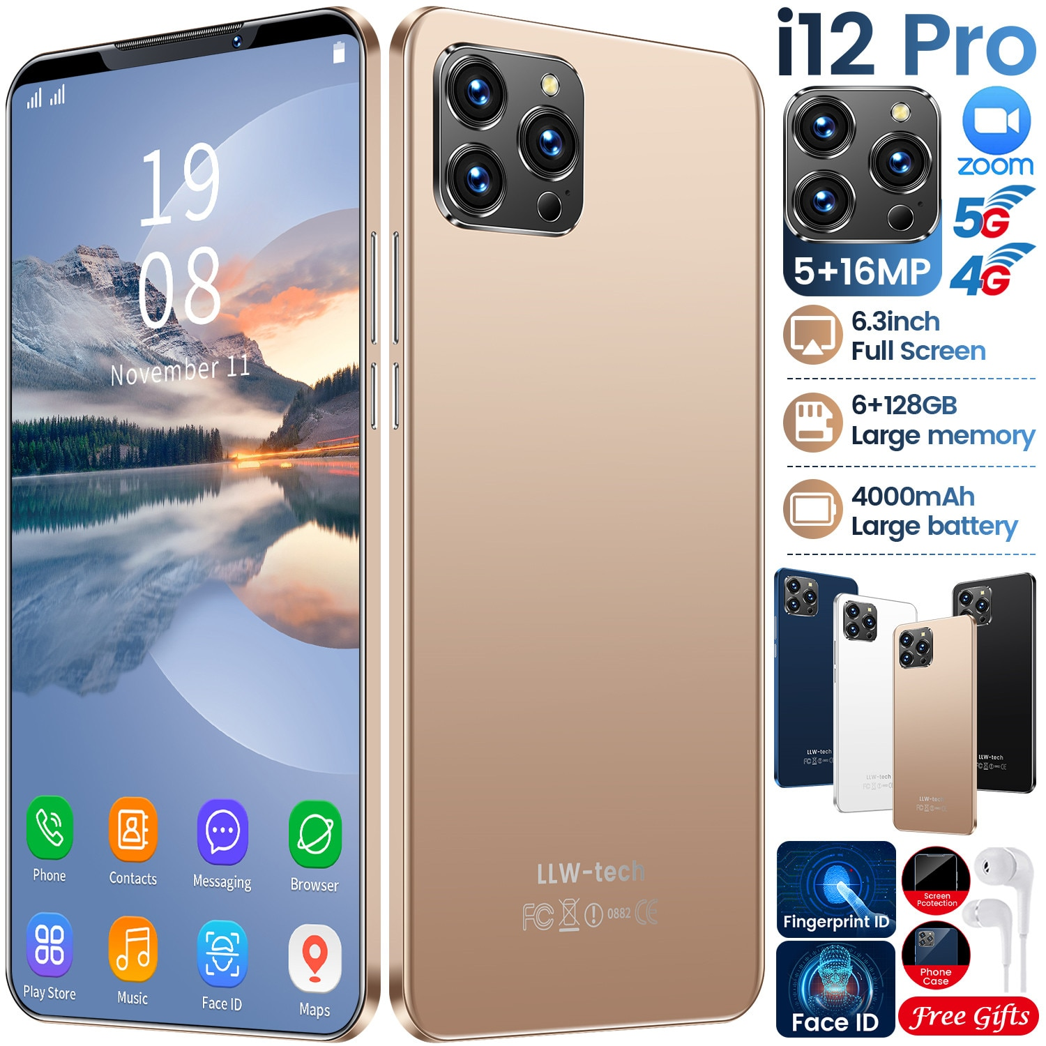 6.3 Inch Andriod Phone i12 Pro 6GB RAM 128GB ROM MTK6595 Smartphone 5+16MP 10 Core 4000mAh Mobile Ph