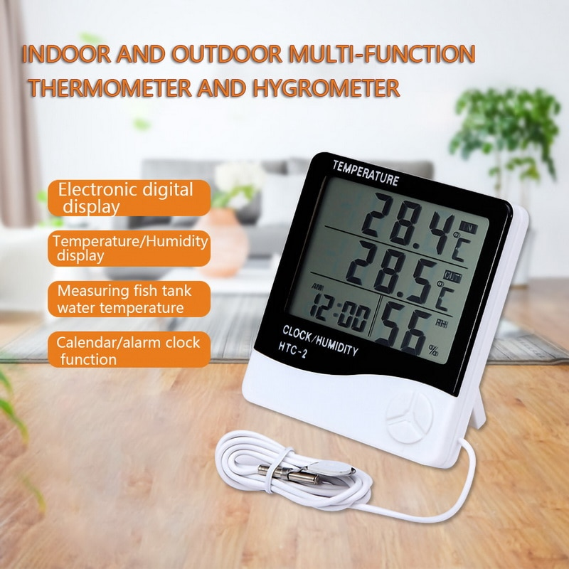 Urijk LCD Digital Temperature Humidity Meter HTC-1 HTC-2 Home Indoor Outdoor hygrometer thermometer Weather Station with Clock htc 1 indoor room lcd digital electronic thermometer hygrometer measuring temperature humidity meter alarm clock weather station