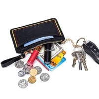 genuine leather women card coin key holder womens purse leather double zipper poucut organizer wallets key ring credit card