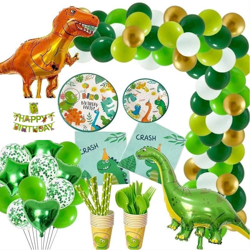 Jungle Theme Dinosaur Party Decoration Balloon Dinosaur Disposable Tableware Set Baby Shower Children Birthday Party Gift