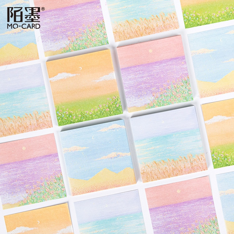 50 unids/set Kawaii Bloc de notas Campo de fantasía paisaje planificador diario notas para mensajes de pintura hojas de notas estudiante papelería