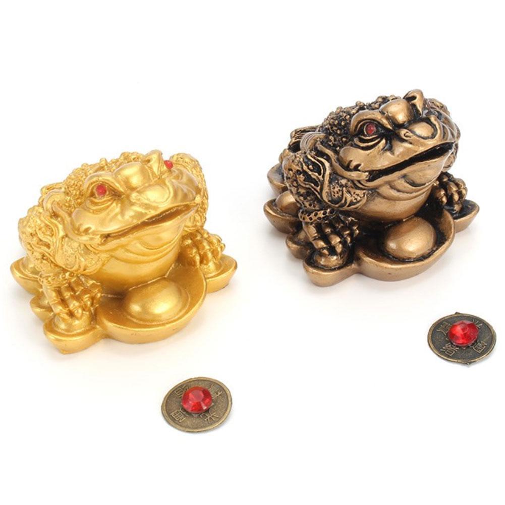 풍수 금화 돈 두꺼비 행운의 재산 중국 개구리 두꺼비 탁상 장식품 행운의 선물 장식 액세서리