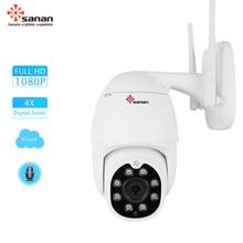 SANAN 1080P Auto Tracking PTZ IP Camera 4X Zoom Speed Dome Wireles CCTV Camera Cloud Storage Wifi Security Camera Outdoor YCC365
