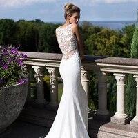 wholesale exquisite white lace mermaid bridal wedding gowns sleeveless bride wedding dresses illusion back jewel neck beaded