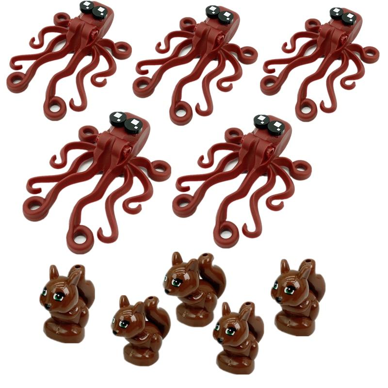 5PCS MOC Octopus Animal Building Blocks Pet Pigs Chicken Dog Squirrel Bricks Parts City Accessories