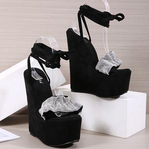 Rhinestone Sandals Espadrilles Platform High Heels Open Toe Suit Female Beige Low-Heeled Shoes With Strap 2021 Women's Large Siz