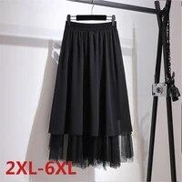 big size %c2%a0summer half length irregular mesh gauze a line skirt plus size fat mm women large size clothing chiffon pleated skirt
