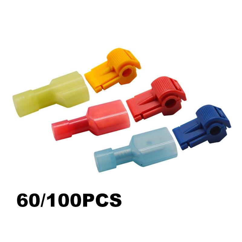 60/100PCS Quick Electrical Cable Connectors Snap Splice Lock Wire Terminals Crimp
