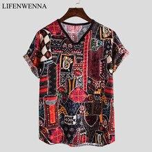 Летняя Гавайская Мужская футболка с модным принтом, футболки с коротким рукавом, Повседневная Мужская льняная футболка, плюс размер, Мужска...