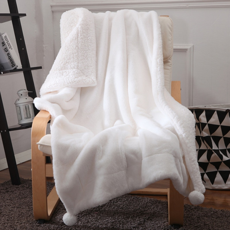 بطانية ناعمة للغاية على شكل أرنب صناعي للبنات ، أريكة مريحة مع بوم بوم