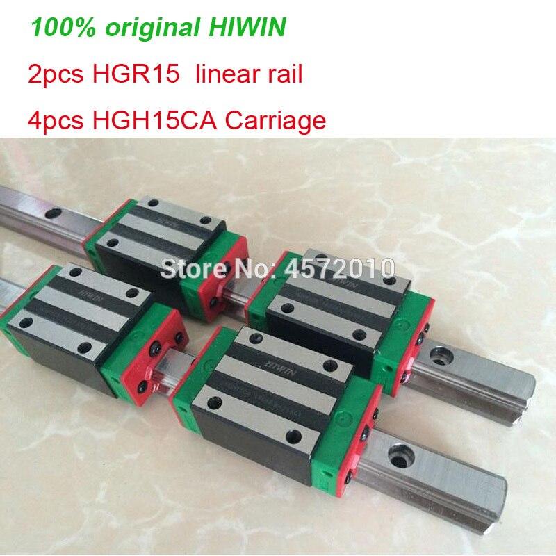 2 قطعة 100% الأصلي HIWIN خطي السكك الحديدية دليل HGR15 - 200 250 300 مللي متر 350 مللي متر 400 مللي متر 450 مللي متر 500 مللي متر + 4 قطعة HGH15CA أو HGW15CA النقل