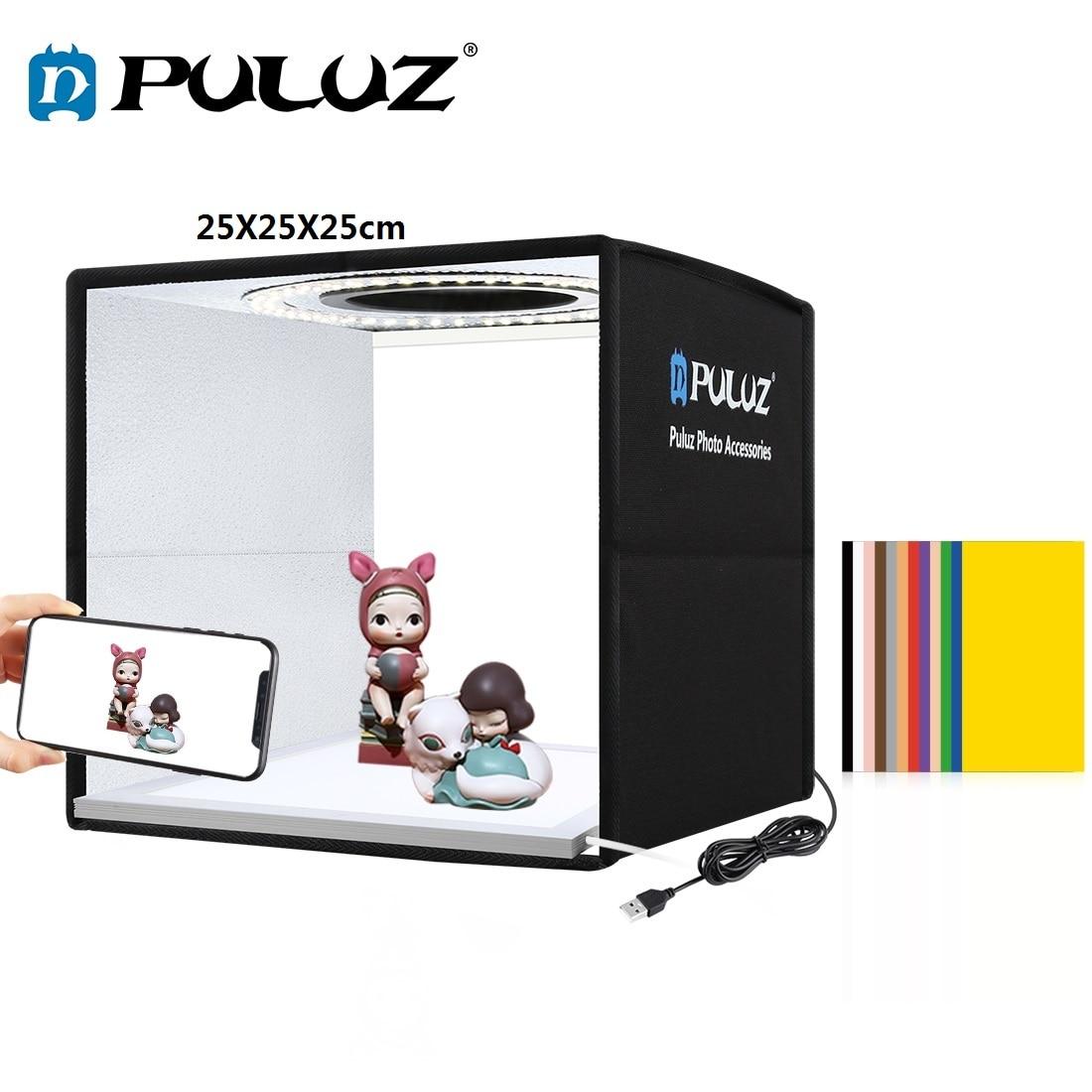 PULUZ 25cm Lightbox Folding Mini Photo Studio Light Box Photography Lighting Shooting Tent Box kits&6 Background papers/12colors