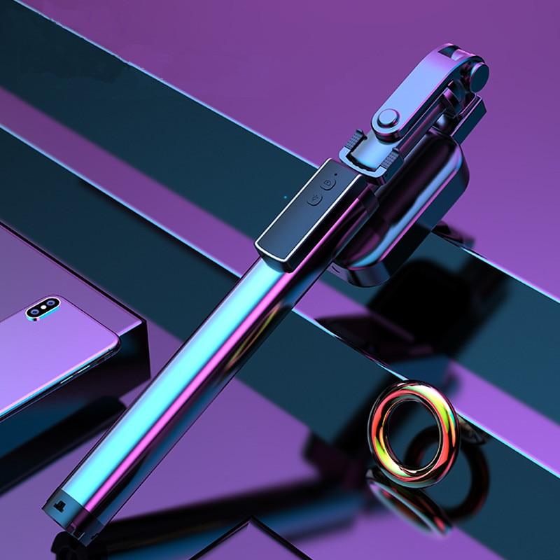 Palo Selfie Bluetooth con trípode oculto Luz de relleno Selfie palo de mano remoto todo metal Selfie Stick para teléfono inteligente