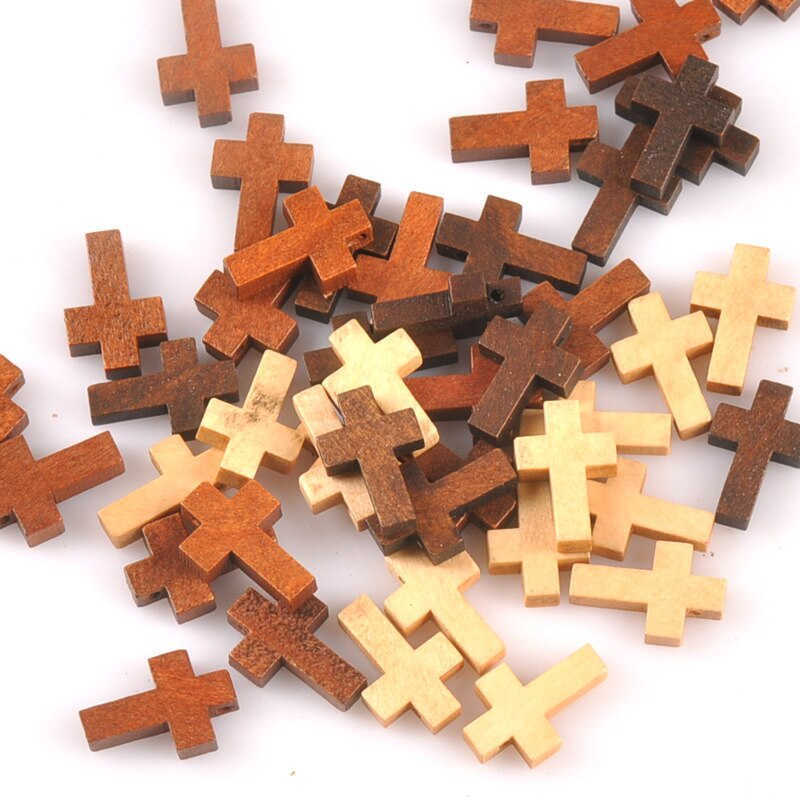 Cruz cuentas de madera suministros para manualidades DIY colgante adorno colgante regalos de los niños de madera sin terminar, decoración de Artes y Oficios 50 Uds m2575